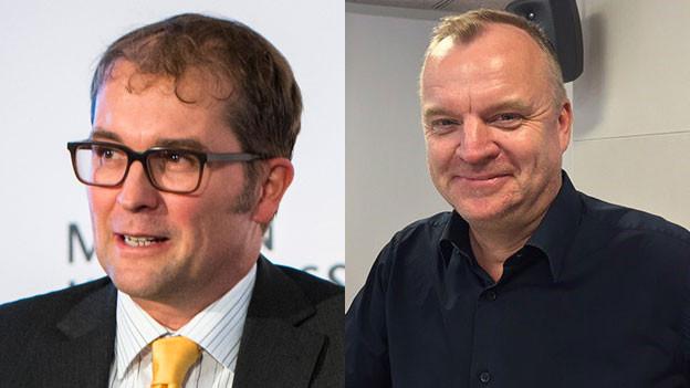 Andreas Häuptli, Geschäftsführer des Verbands Schweizer Medien (links) und Hansi Voigt, ehemalige Chefredaktor von 20minuten.ch und Gründer des Newsportals Watson.