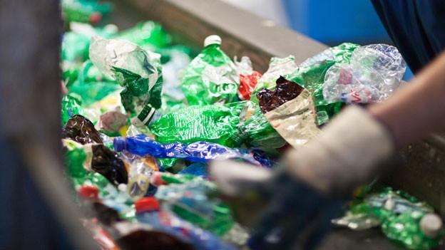 Ein Angestellter sortiert leere PET-Flaschen in einem Entsorgungshof.