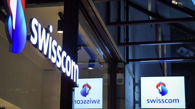 Logo der Swisscom in Oerlikon.