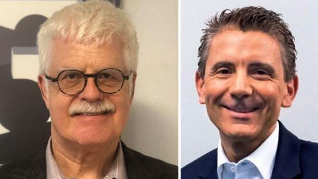 Martin Schläpfer (links), Cheflobbyist der Migros und Alex Biscaro, stellvertretender Geschäftsführer von Transparency International Schweiz.