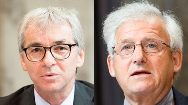 Erich Ettlin, CVP-Ständerat aus dem Kanton Obwalden (links) und Hans Stöckli, Berner SP-Ständerat.
