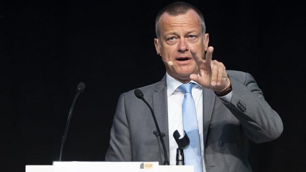 Martin Landolt, Parteipräsident der BDP Schweiz, spricht an der Delegiertenversammlung der BDP Schweiz, am Samstag, 27. April 2019 in Burgdorf.