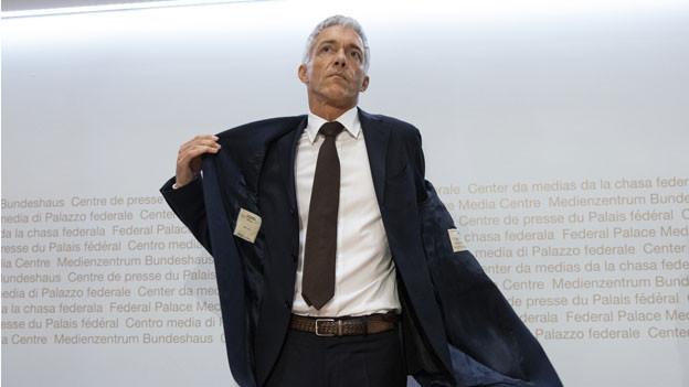 Der Schweizer Bundesanwalt Michael Lauber kommt am 10. Mai 2019 zu einer Medienkonferenz im Medienzentrum des Bundeshauses in Bern.