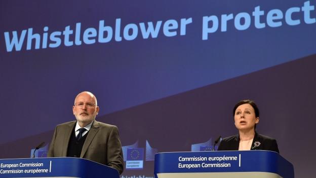 Die europäische Kommission informiert über den Schutz von Whistleblowern.