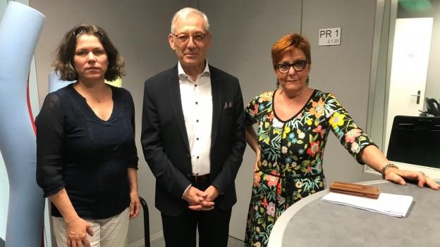 Michelle Beyeler (Links), Carlo Schmid und Cécile Bühlmann