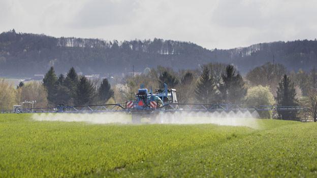Ein Landwirt besprüht mit dem Traktor ein Feld in Payerne, Kanton Waadt.