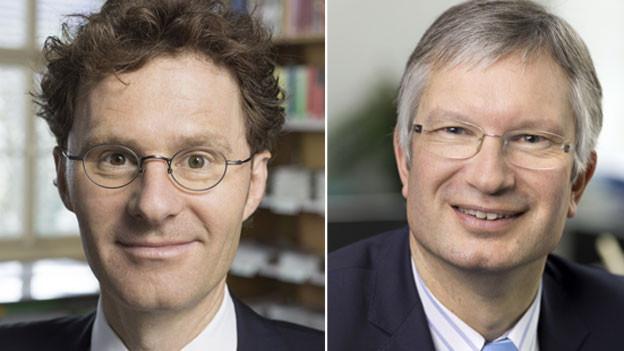 Daniel Lampart, Chef-Ökonom des Schweizerischen Gewerkschaftsbunds (links) und Roland A. Müller, Direktor des Schweizerischen Arbeitgeberverbands.