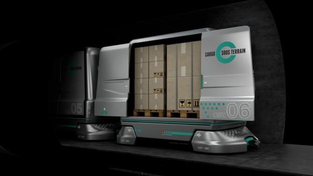 Illustration von Cargo Sous Terrain Containern.