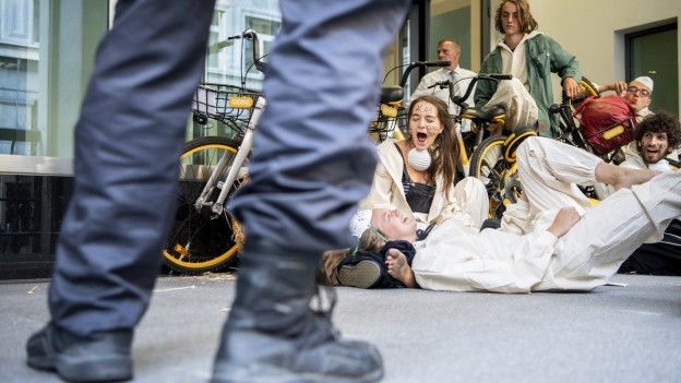 Eine Gruppe Klimaaktivisten der Organisation Clima Justice blockiert den Eingang der Schweizer Banken UBS und Credit Suisse in Zürich.