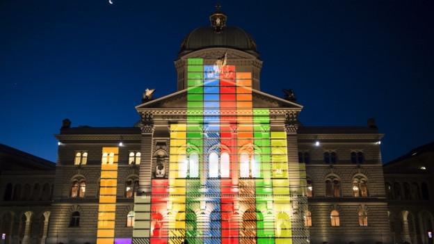 Das Bild zeigt das Bundeshaus, darauf ist ein Balkendiagramm.