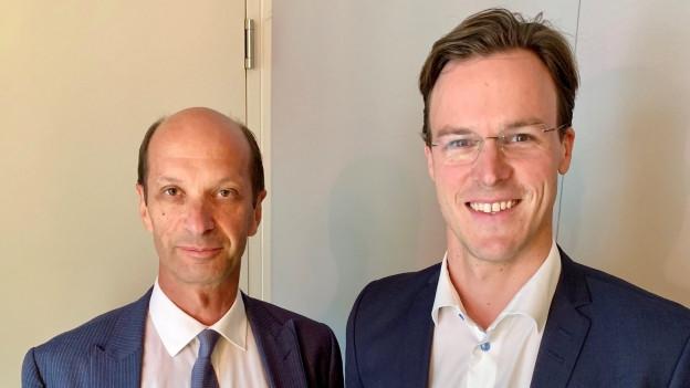Auf dem Bild sind Ständerat Beat Rieder (CVP Wallis) und Nationalrat Bastien Girod (Grüne Zürich) zu sehen.