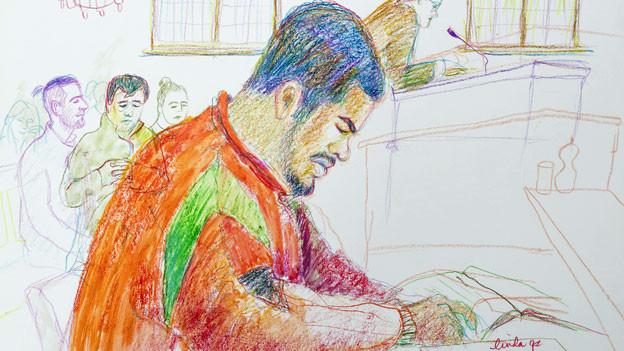 Gerichtszeichnung des Prozesses von Jugendstraftäter «Carlos» wegen schwerer Körperverletzung, vom März 2017 in Zürich.