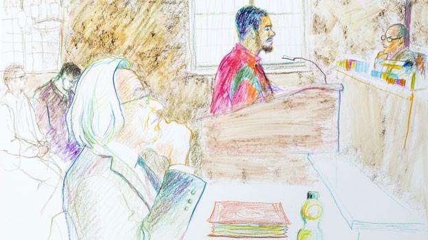 Gerichtszeichung während des Prozesses von Brian (Carlos).