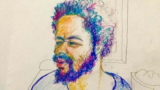 Zu sehen ist der junge Straftäter Brian K. alias Carlos vor dem Bezirksgericht Zürich in gezeichneter Form.