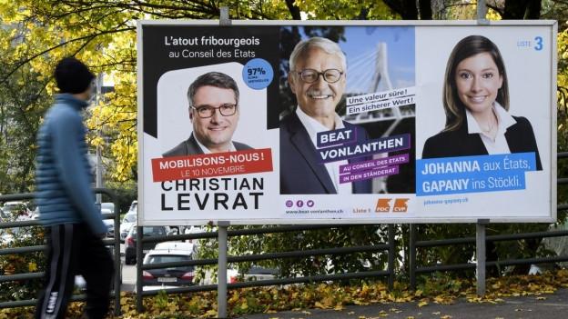 Wahlplakate im Kanton Freiburg.