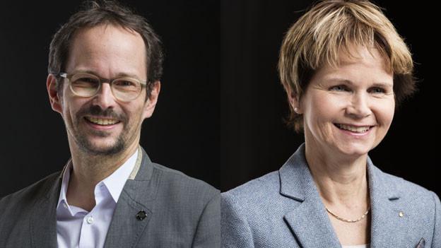 Balthasar Glättli, Nationalrat GP-ZH, und Brigitte Häberli-Koller, Ständerätin der CVP des Kantons Thurgau in der Abstimmungskontroverse.