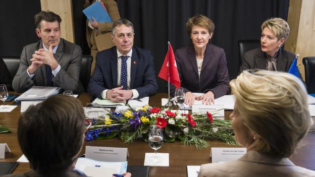 Das Treffen am diesjährigen WEF zwischen den Bundesräten Cassis, Sommaruga und Keller-Sutter und EU-Kommissionspräsidentin von der Leyen.