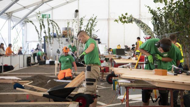 Das Bild zeigt mehrere Gärtner anlässlich der Berufsmeisterschaften in Bern.