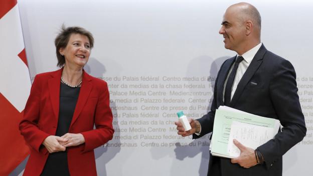 Bundespräsidentin Simonetta Sommaruga und Bundesrat Alain Berset