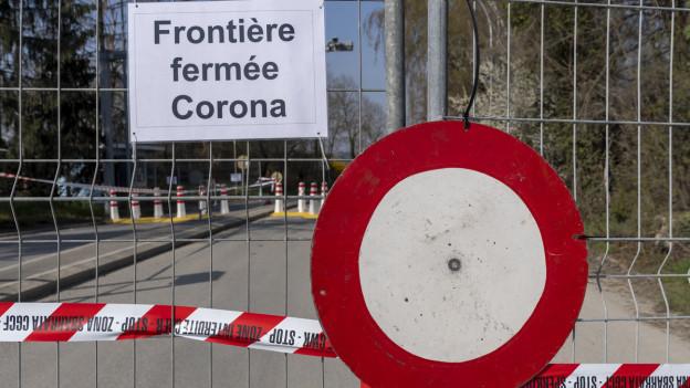 Das Bild zeigt eine Grenze, die wegen Corona geschlossen ist