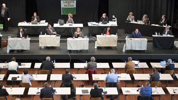 Sitzung des Grossen Rates des Kantons Waadt im Saal von Marive und Yverdon-les-Bains.