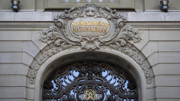 Der Eingang zur Nationalbank in Bern.