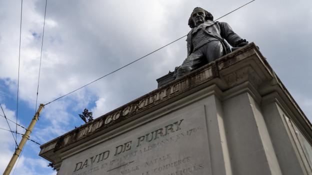 Die Statue von David de Pury in Neuenburg