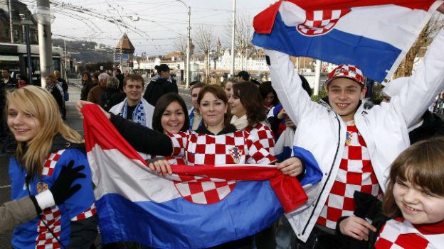Kroatische Fussballfans bei der EM 2008.