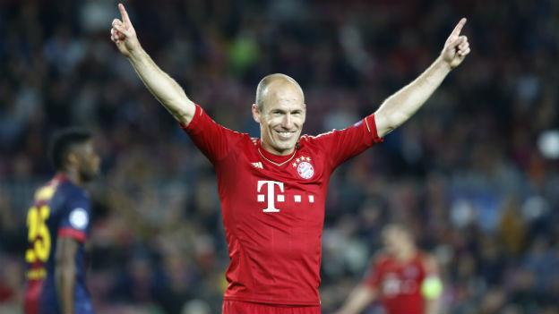 Arjen Robben vom FC Bayern feiert den Finaleinzug.