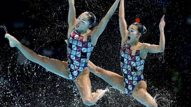 Die Schwimm-WM in Barcelona: Im Bild japanische Synchron-Schwimmerinnen.