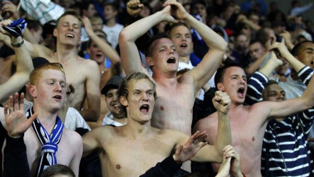 Fans des FC Kopenhagen im eigenen Stadion.
