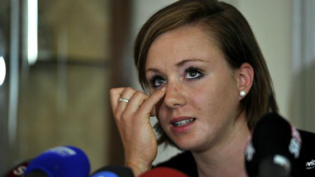 Ein Abschied unter Tränen: Die Turnerin Ariella Käslin bei der Verkündung ihres Rücktritts 2011.