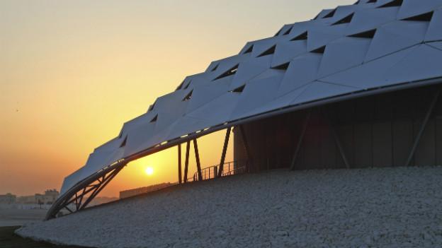 Fussball-Staat Katar: Modell eines Stadionteils für die WM 2022.