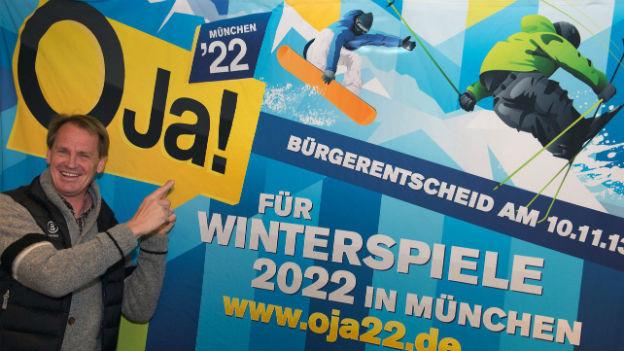 Der zweifache Olympiasieger Markus Wasmeier wirbt für Winterspiele in München.