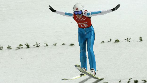 Die Ostschweizer Skispringerin Bigna Windmüller in Sotschi