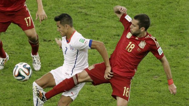 Szene aus WM-Spiel Spanien-Chile vom 18. Juni 2014
