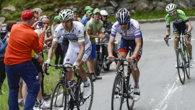 Sieger unter sich: Rui Costa (links) und Mathias Frank bei der Schlussetappe im Wallis