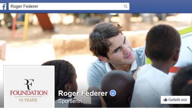 Ausschnitt aus dem Facebook-Profil von Roger Federer.