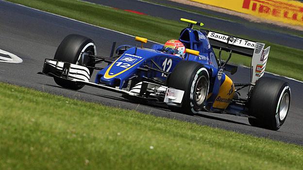 Der brasilianische Formel--1-Fahrer Felipe Nasr für das Sauber-Team unterwegs in Silverstone.nterwegs in