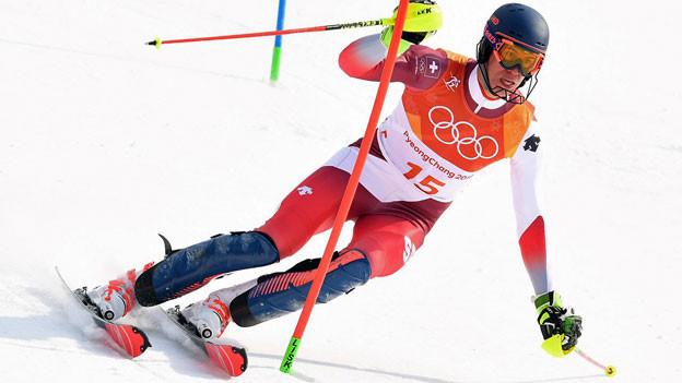 Ramon Zenhäusern im zweiten Lauf des olympischen Slalomrennens in Pyeongchang.