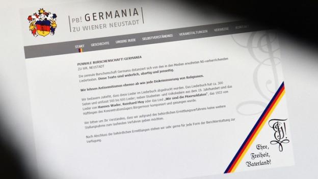 Die Webseite der Wiener Neustädter Burschenschaft Germania.