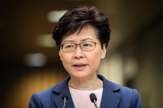 Hongkongs Regierungschefin Carrie Lam heute Morgen vor den Medien.