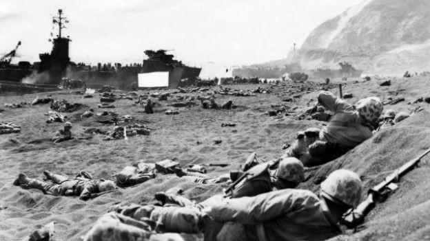 Soldaten in der Schlacht um Iwojima