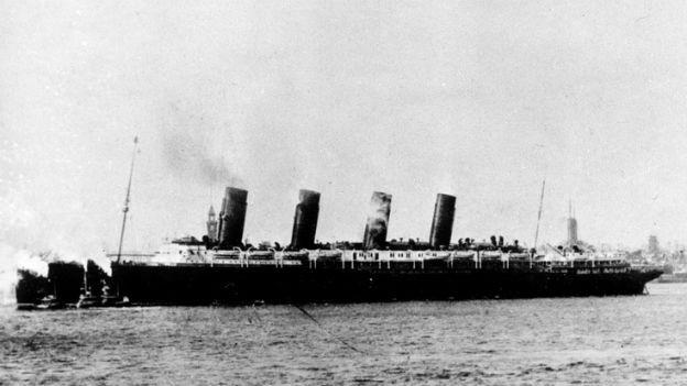 Das US Passagierschiff Lusitania wurde 1915 versenkt.