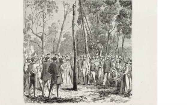 Bau der ersten Telegrafenleitung in Australien.