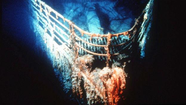 Der Bug der Titanic am Grund des Nordatlantiks