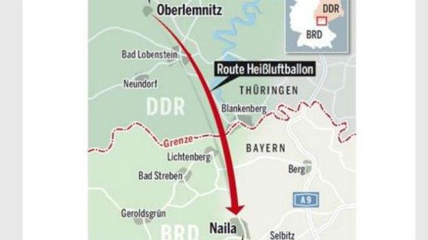 Route der Ballonflucht aus der DDR.