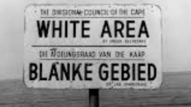 Apartheid in Südafrika.