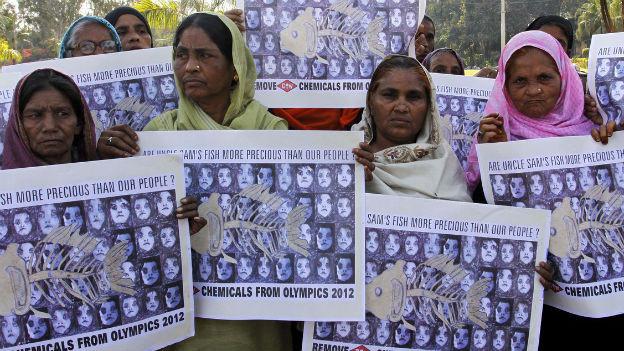 Opfer des Gas-Unglücks in Bhopal demonstrieren 2012