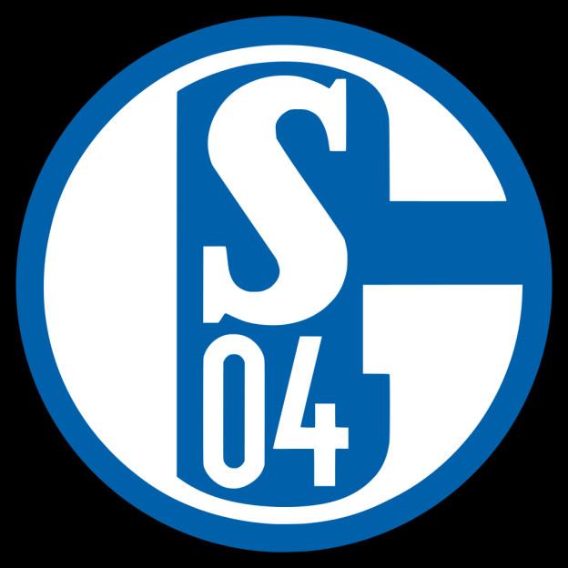 Ein weisses S, darunter ein weisses 04 auf blauem Grund. Die Ziffern stehen in einem Kreis mit blauem Rand, weiss ausgemalt. Es ist das Wappen von Schalke 04.